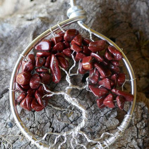 Pendentif Arbre de Vie en pierre rouge