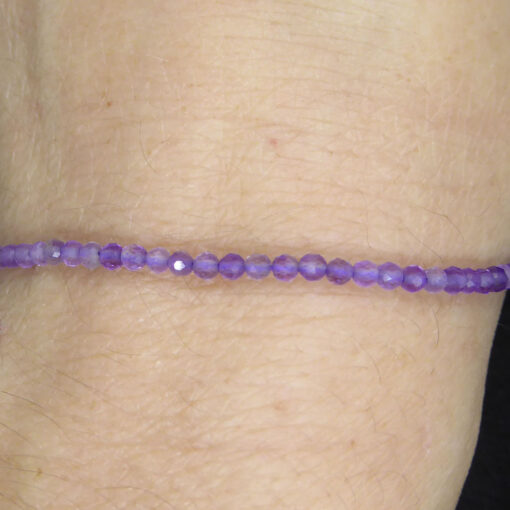 Bracelet Fin en Améthyste facettée 2mm